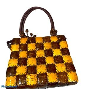 Unique wood accent and beaded checkered bag